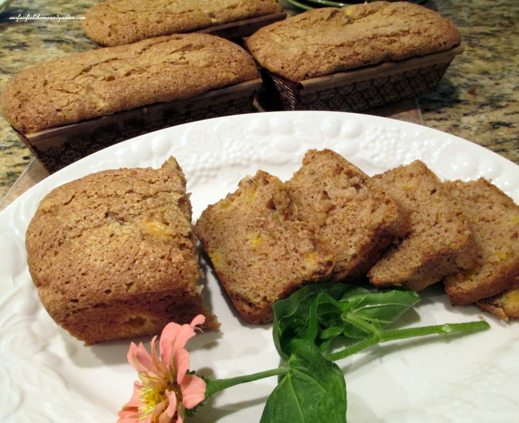 Quick Bread https://ourfairfieldhomeandgarden.com/lovely-peach-bread-with-lavender-sugar-sprinkles/