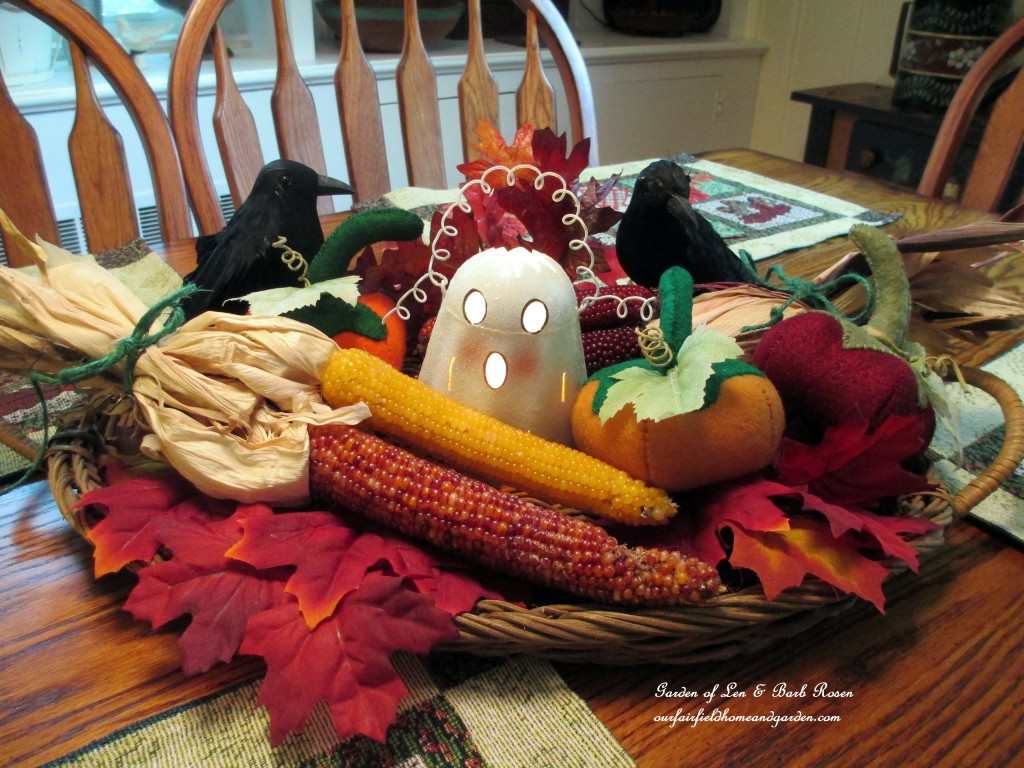 Ghost Centerpiece https://ourfairfieldhomeandgarden.com/getting-into-the-spirit-of-halloween-insert-spooky-music-here/