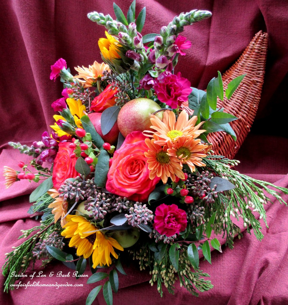 cornucopia https://ourfairfieldhomeandgarden.com/happy-thanksgiving-make-a-cornucopia-of-fresh-fruit-flowers-for-a-centerpiece/