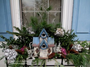 Winter birdhouse window box with touches of silver, white and blue for Chanukah