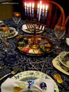 Our Chanukah table http://ourfairfieldhomeandgarden.com/chanukah-recipes-to-die-for/