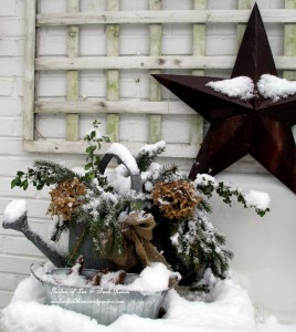 Winter Potting Sink https://ourfairfieldhomeandgarden.com/winter-wonderland-it-finally-snowed/