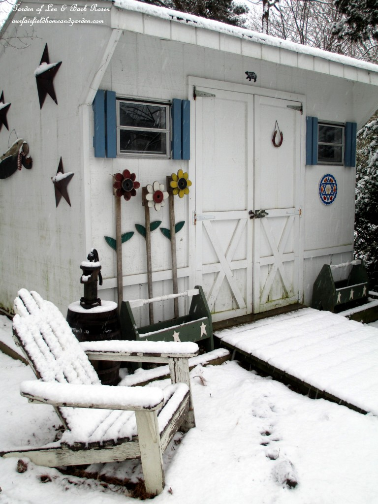 Our Garden Shed in the snow https://ourfairfieldhomeandgarden.com/winter-wonderland-it-finally-snowed/