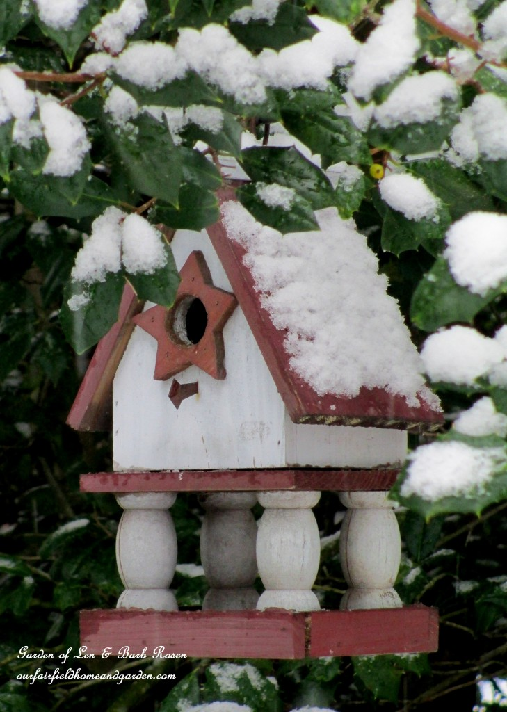 Snowy Birdhouse  https://ourfairfieldhomeandgarden.com/winter-wonderland-it-finally-snowed/