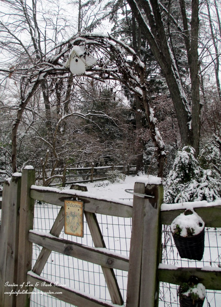 Back fence arbor https://ourfairfieldhomeandgarden.com/winter-wonderland-it-finally-snowed/