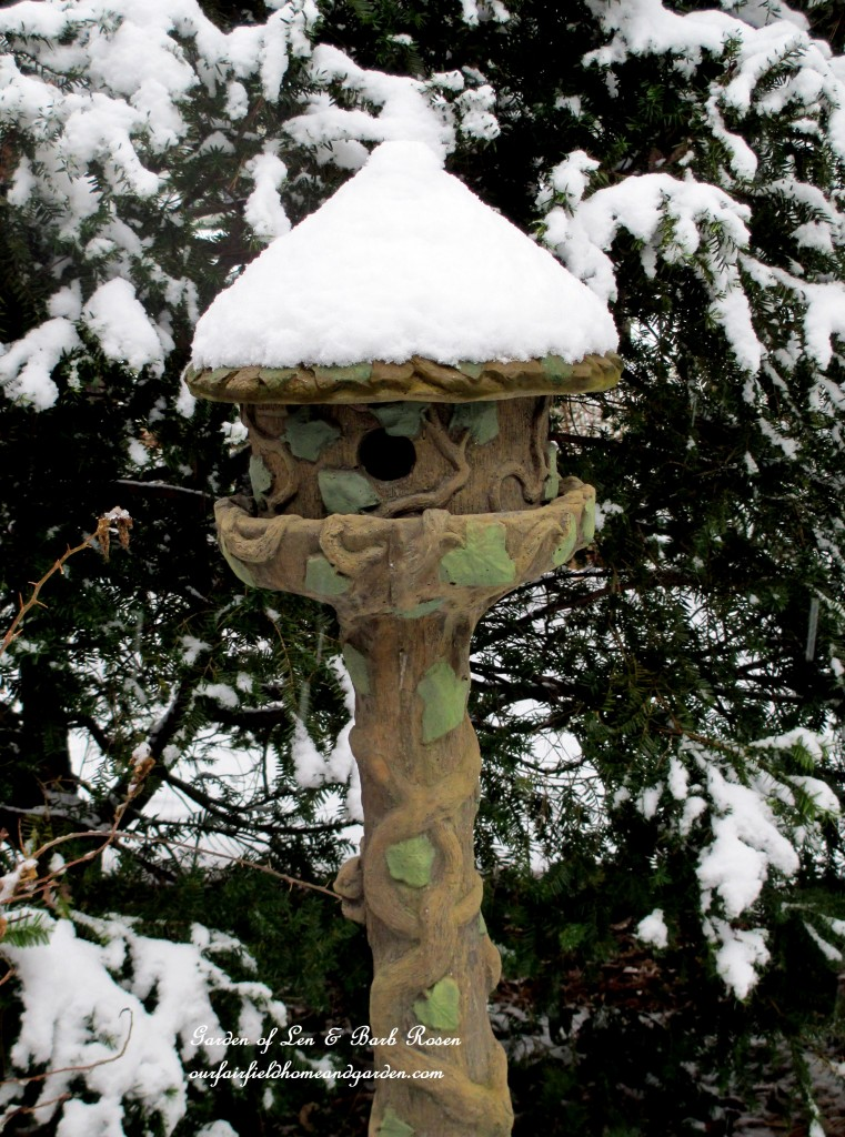 Concrete Birdhouse with a snow-covered roof http://ourfairfieldhomeandgarden.com/winter-wonderland-it-finally-snowed/