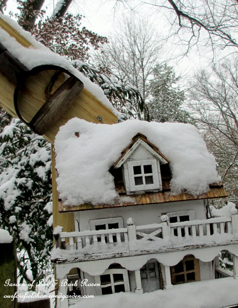 Back Fence Birdhouse https://ourfairfieldhomeandgarden.com/winter-wonderland-it-finally-snowed/