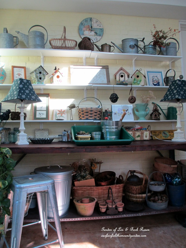 my potting bench http://ourfairfieldhomeandgarden.com/my-winter-sanctuary-scenes-from-a-garden-room/