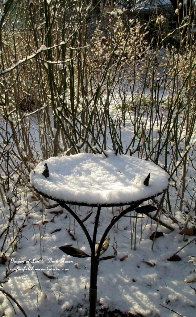 frozen bird bath https://ourfairfieldhomeandgarden.com/january-winter-garden/