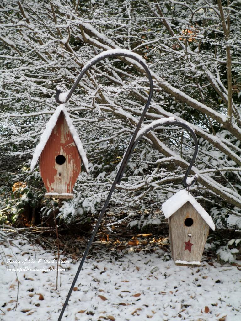 birdhouses in the snow https://ourfairfieldhomeandgarden.com/january-winter-garden/