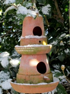 Double-decker birdhouse http://ourfairfieldhomeandgarden.com/january-winter-garden/