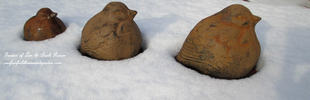 cast iron birds in the snow http://ourfairfieldhomeandgarden.com/january-winter-garden/