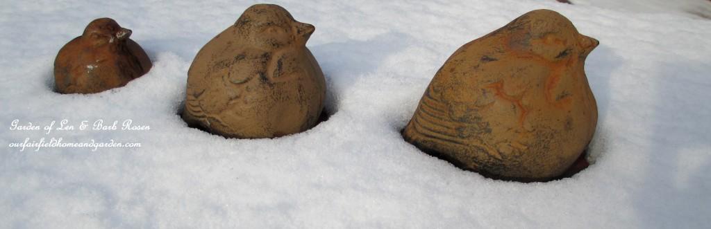 cast iron birds in the snow https://ourfairfieldhomeandgarden.com/january-winter-garden/