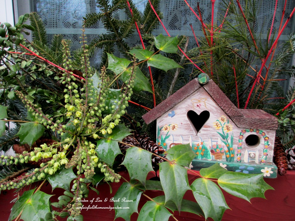 Little heart birdhouse in the kitchen deck window box https://ourfairfieldhomeandgarden.com/heart-home-valentines-day-is-coming/