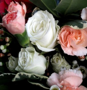 white spray roses & peach carnations