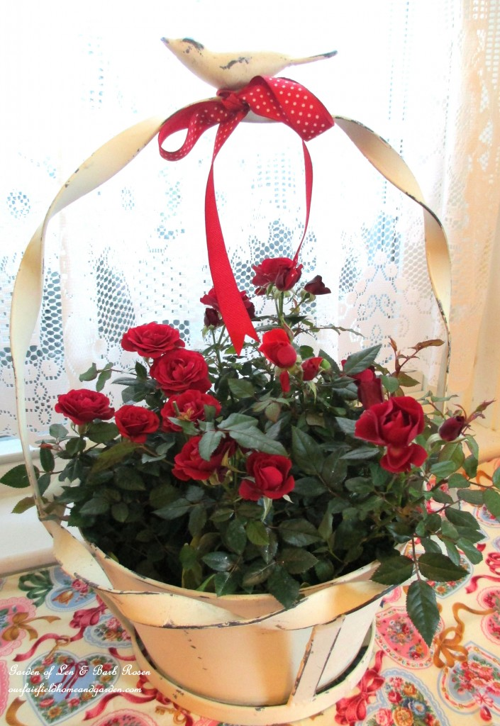 red roses symbolize love https://ourfairfieldhomeandgarden.com/be-my-valentine-valentine-decor/