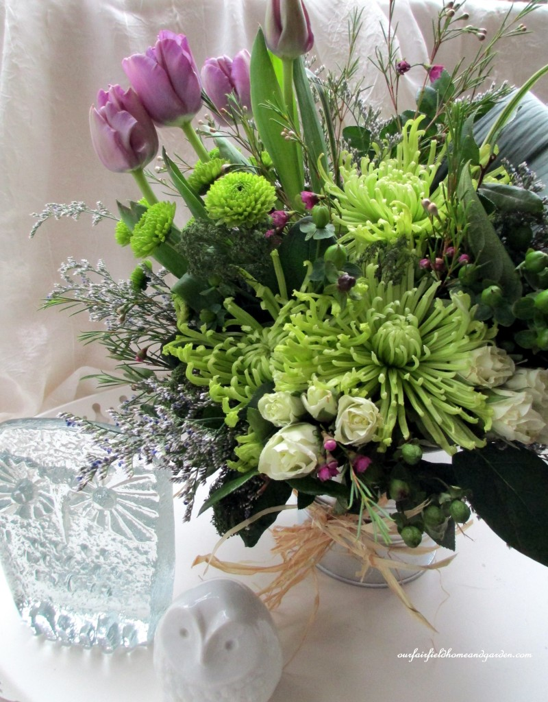 An array of spring greens all in one bouquet!