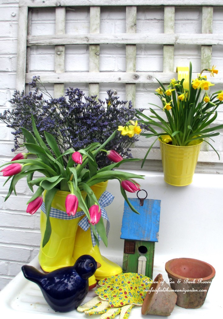 planted rain boots http://ourfairfieldhomeandgarden.com/spring-is-busting-out-all-over/