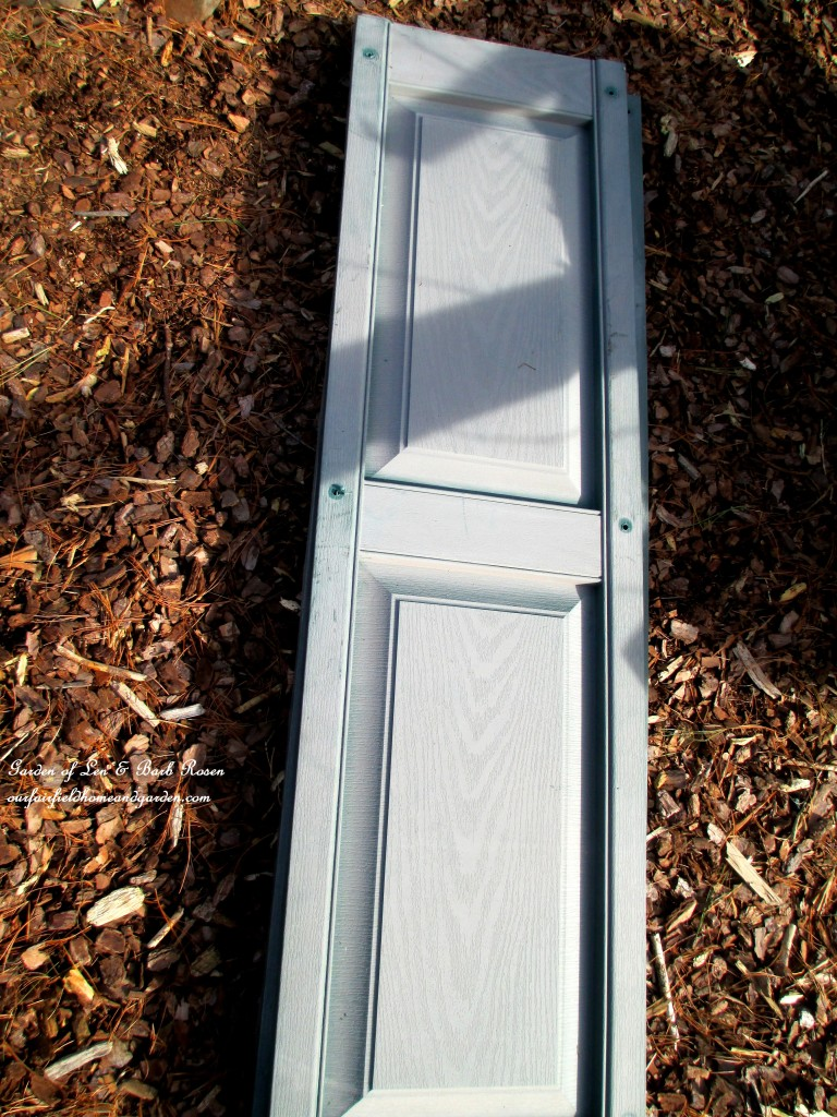 one of the ten shutters I got from my neighbor's trash https://ourfairfieldhomeandgarden.com/diy-project-raised-beds-for-free/