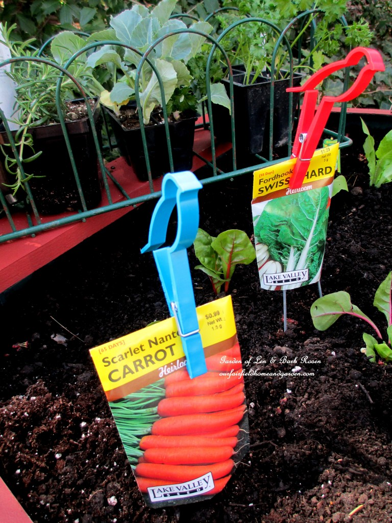 Dollar Store bird clips hold the seed packets in place https://ourfairfieldhomeandgarden.com/diy-project-raised-beds-for-free/