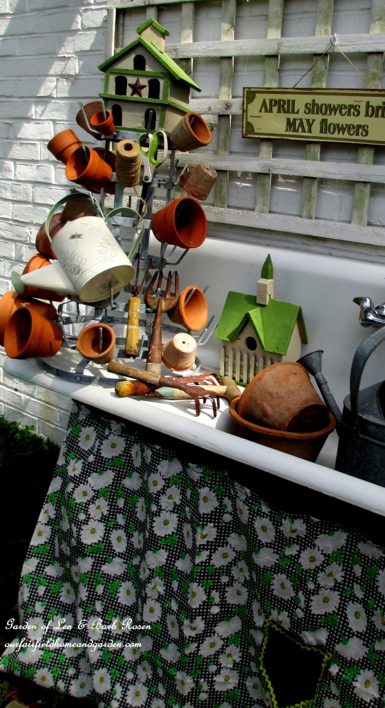 The Potting Sink sporting her new apron skirt sewn by my dear friend, Renee! https://ourfairfieldhomeandgarden.com/let-the-gardening-begin/