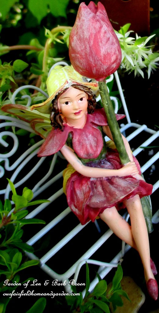 Tulip Fairy https://ourfairfieldhomeandgarden.com/diy-project-mothers-day-fairy-garden/