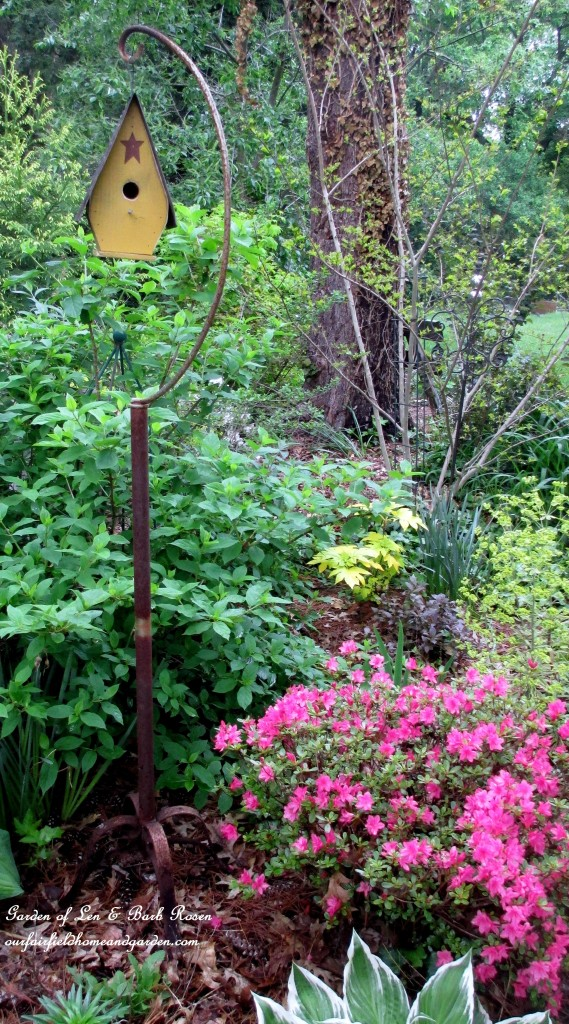 Rusty birdcage stand holds a birdhouse