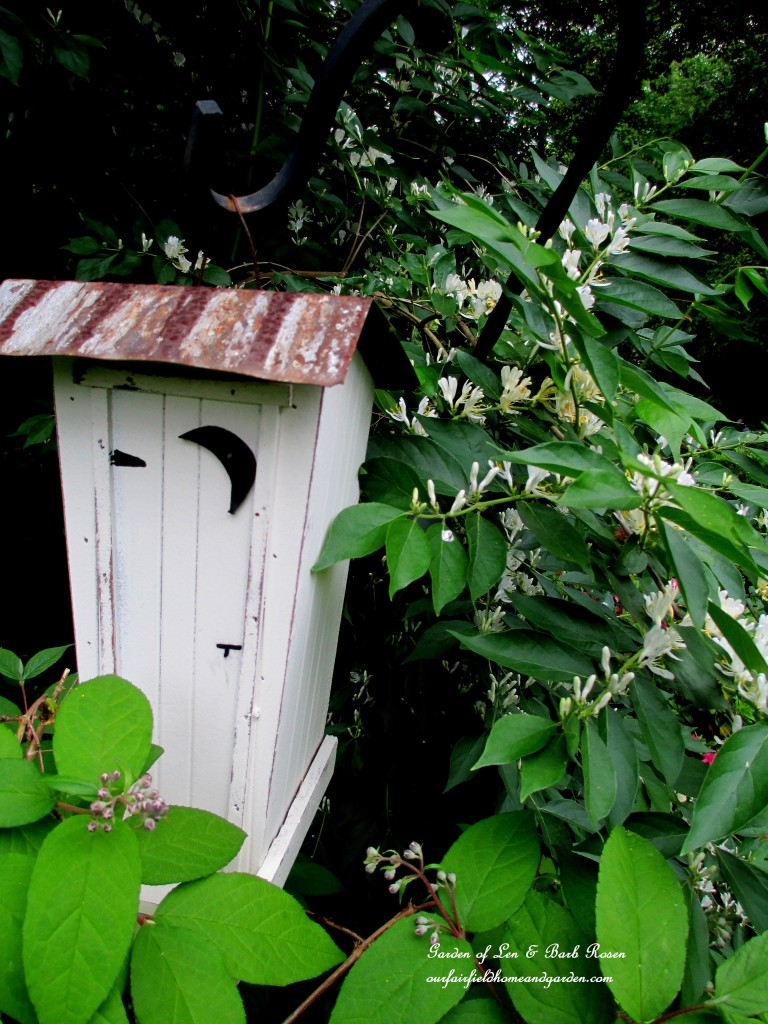 Outhouse Birdhouse https://ourfairfieldhomeandgarden.com/may-garden-birdhouses-flowers/