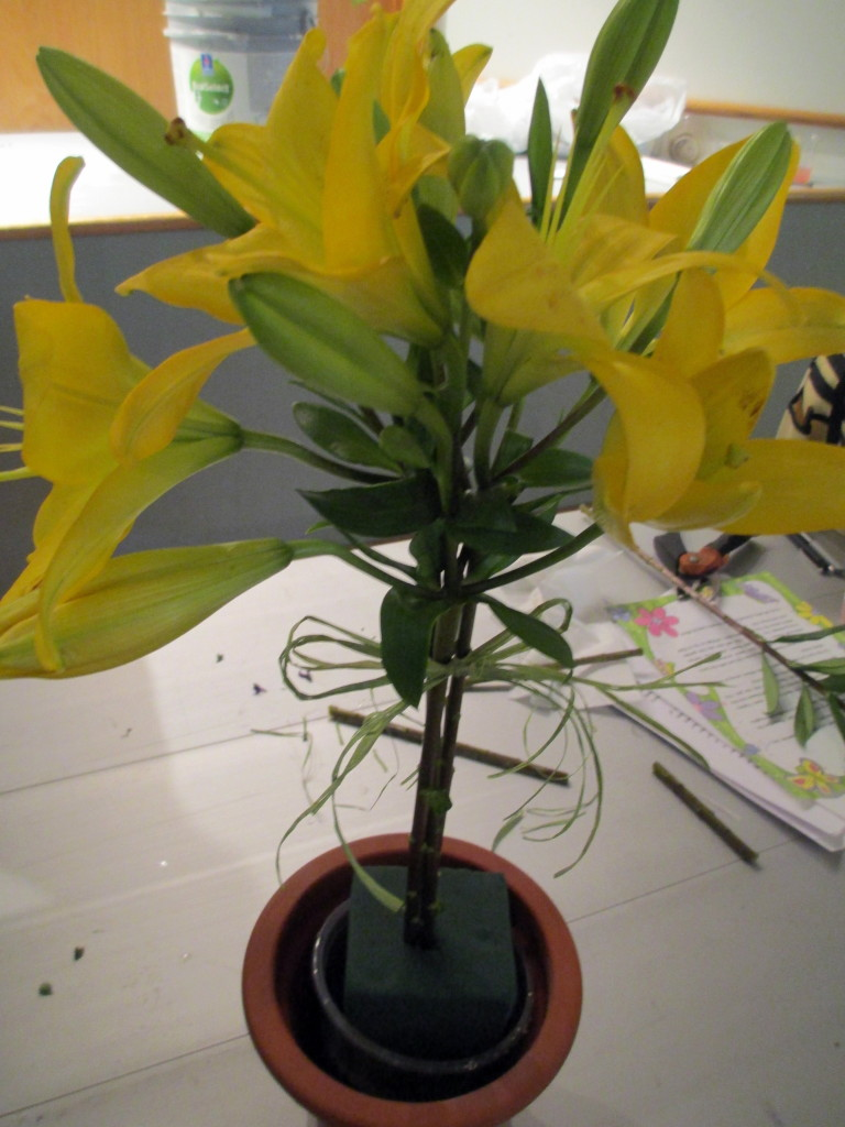 http://ourfairfieldhomeandgarden.com/diy-project-blooming-topiary/Step # 2 ~ place three long-stemmed lilies together and push into the oasis, then tie with raffia or ribbon