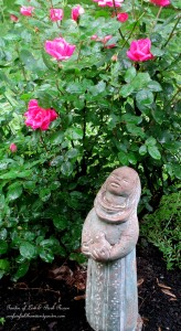 Little Bird Woman & Knockout Roses https://ourfairfieldhomeandgarden.com/garden-walk-june-1st/