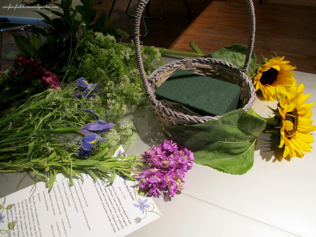 gathered materials ready to arrange http://ourfairfieldhomeandgarden.com/diy-project-country-flower-basket/