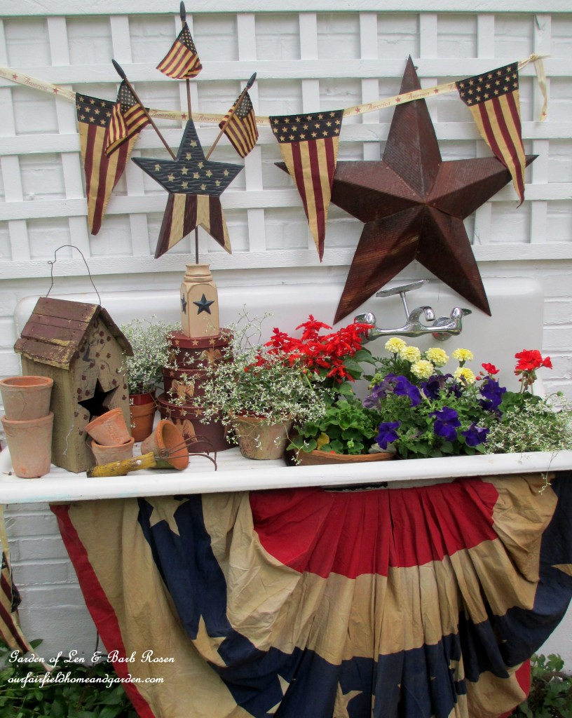 The Potting Sink decorated for the 4th of July! https://ourfairfieldhomeandgarden.com/happy-4th-of-july-patriotic-potting-sink/