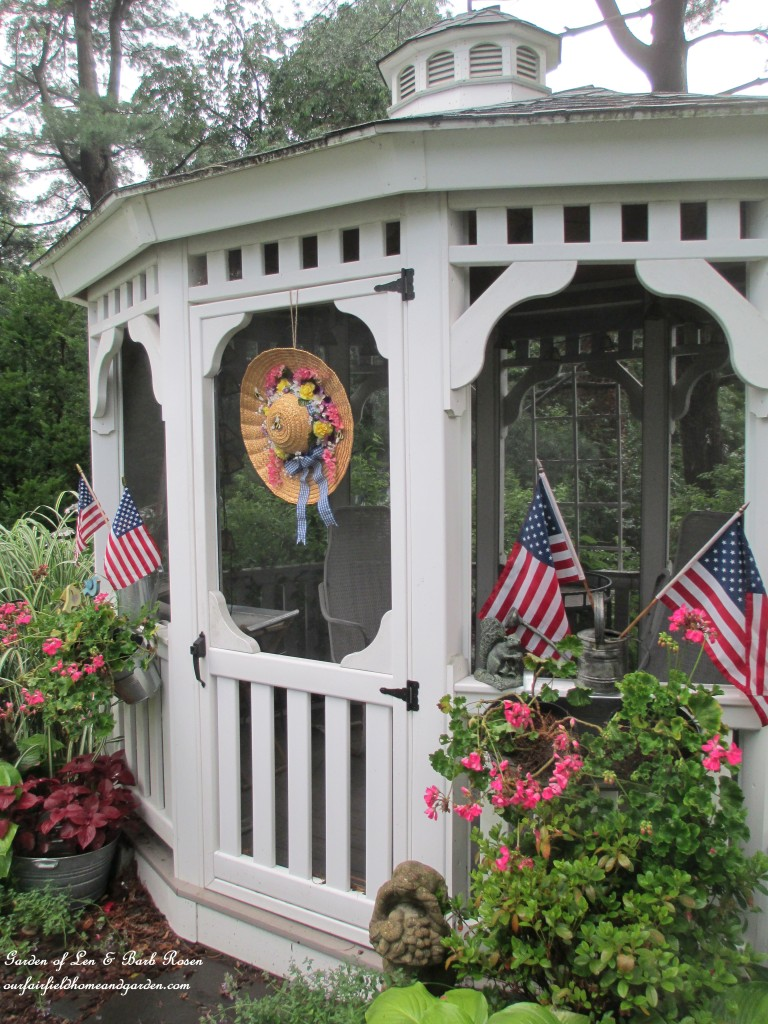 Gazebo ready for July 4th http://ourfairfieldhomeandgarden.com/garden-walk-july-1st/