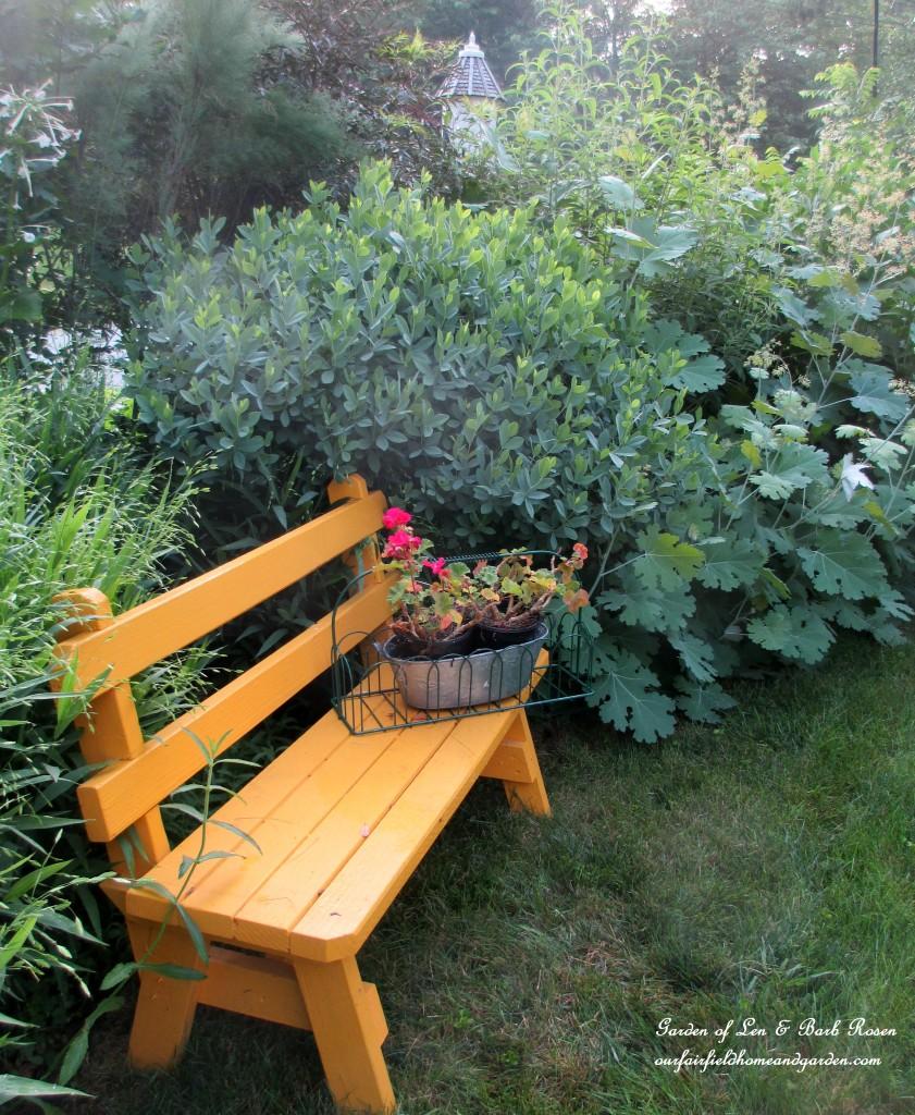 yellow bench in the front garden https://ourfairfieldhomeandgarden.com/garden-walk-july-1st/