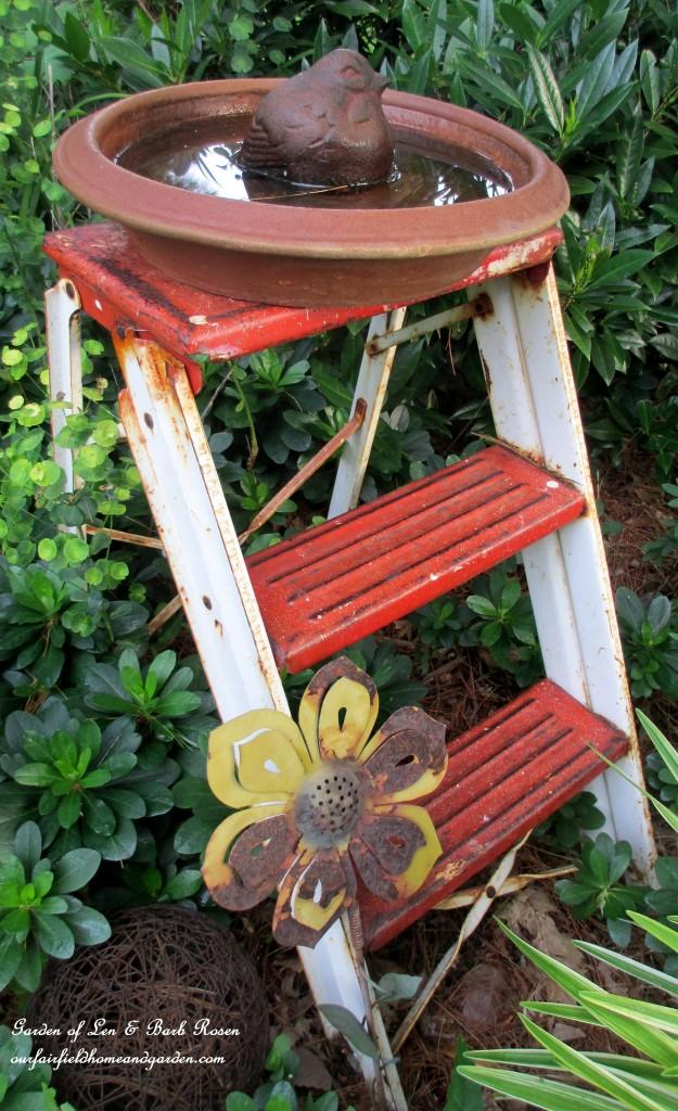 Step Stool Birdbath http://ourfairfieldhomeandgarden.com/garden-walk-july-1st/