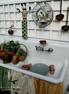 potting sink in her summer skirts