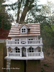 Fancy birdhouse http://ourfairfieldhomeandgarden.com/its-all-about-the-birds-birdfeeders-birdbaths-and-birdhouses-in-our-garden/