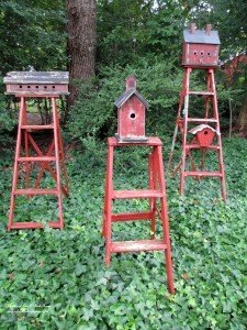 Birdhouse Ladders http://ourfairfieldhomeandgarden.com/its-all-about-the-birds-birdfeeders-birdbaths-and-birdhouses-in-our-garden/