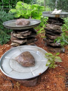 Stacked Stone Birdbaths http://ourfairfieldhomeandgarden.com/its-all-about-the-birds-birdfeeders-birdbaths-and-birdhouses-in-our-garden/