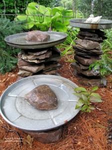 Stacked Stone Birdbaths https://ourfairfieldhomeandgarden.com/its-all-about-the-birds-birdfeeders-birdbaths-and-birdhouses-in-our-garden/