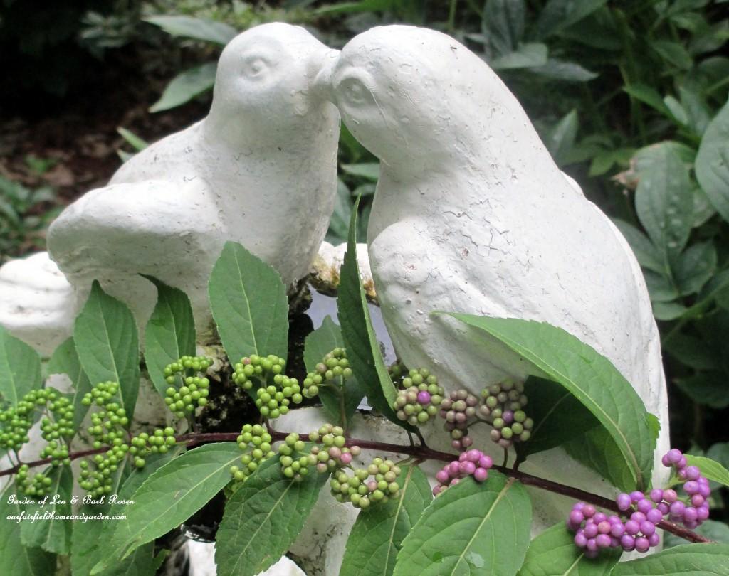 Birdbath Fountain & Beautyberry http://ourfairfieldhomeandgarden.com/its-all-about-the-birds-birdfeeders-birdbaths-and-birdhouses-in-our-garden/