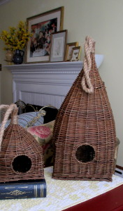 Birdhouse accents http://ourfairfieldhomeandgarden.com/livingroom-makeover-grandma-to-grandeur/