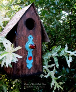 Birdhouse http://ourfairfieldhomeandgarden.com/its-all-about-the-birds-birdfeeders-birdbaths-and-birdhouses-in-our-garden/