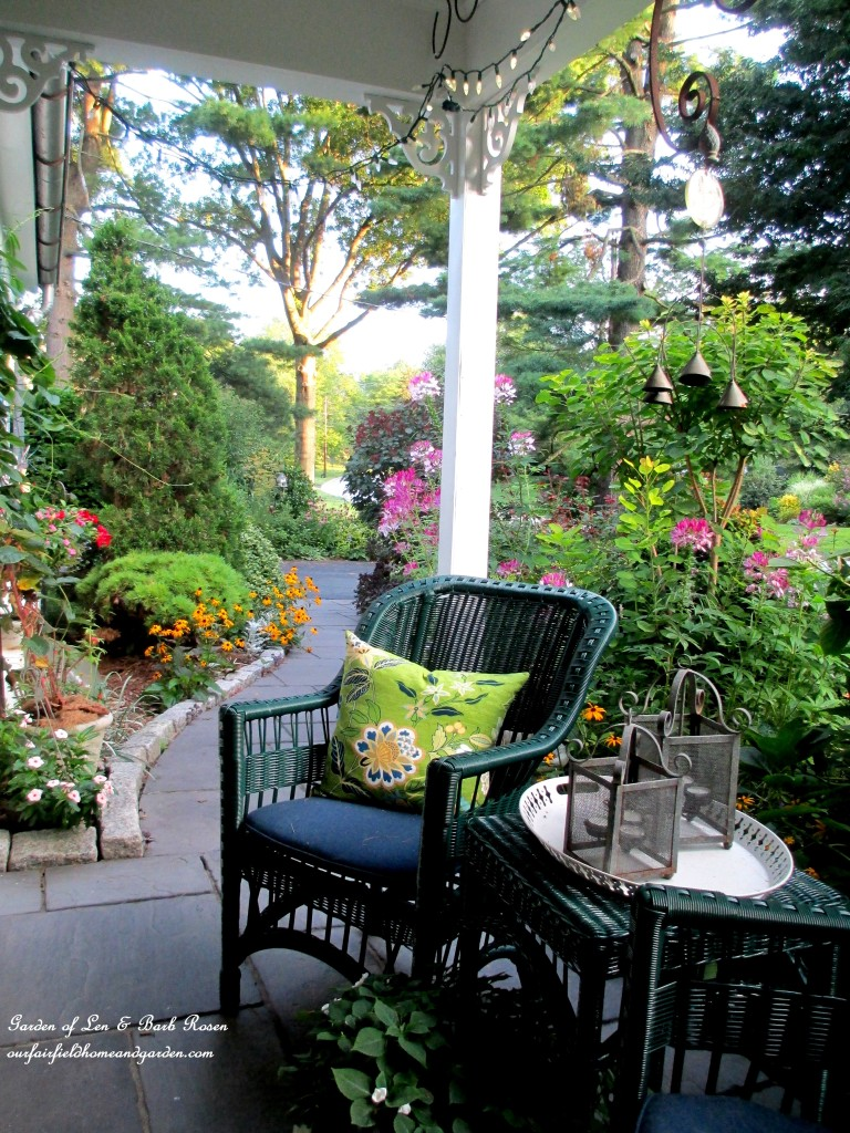 Scene from our porch swing as I have my morning coffee! http://ourfairfieldhomeandgarden.com/garden-walk-my-summer-garden/