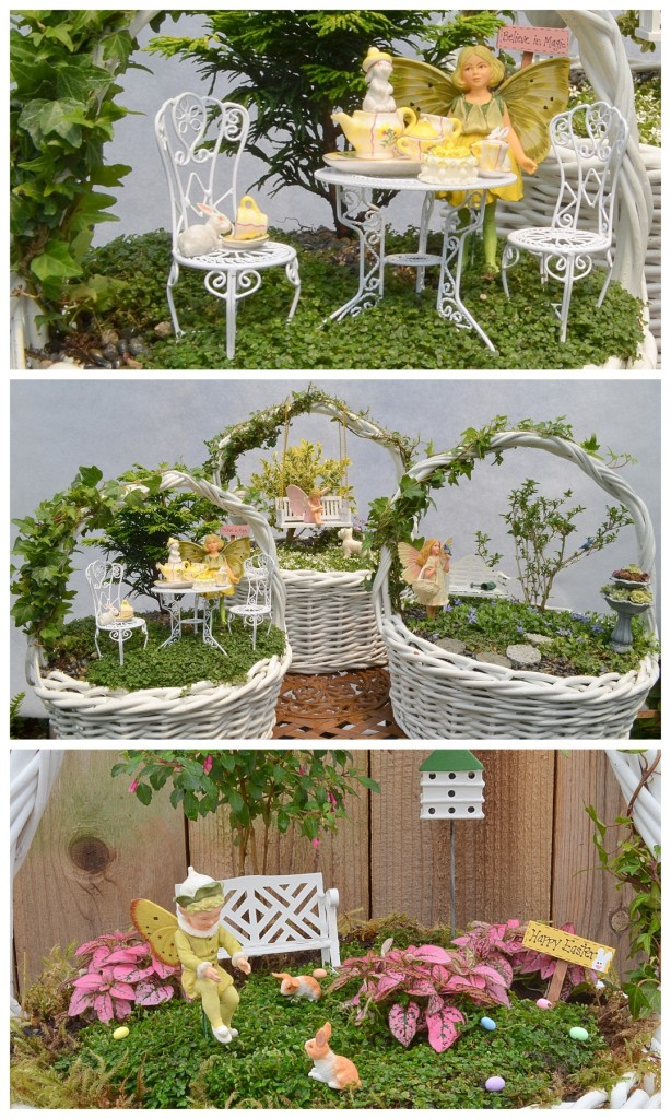 Fairy gardens can be made in baskets and enjoyed indoors. Click through to see more about these pretty ones from Stephanie at Garden Therapy!
