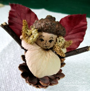 Step 5 ~ glue on leaf wings http://ourfairfieldhomeandgarden.com/diy-project-fairies-for-free/