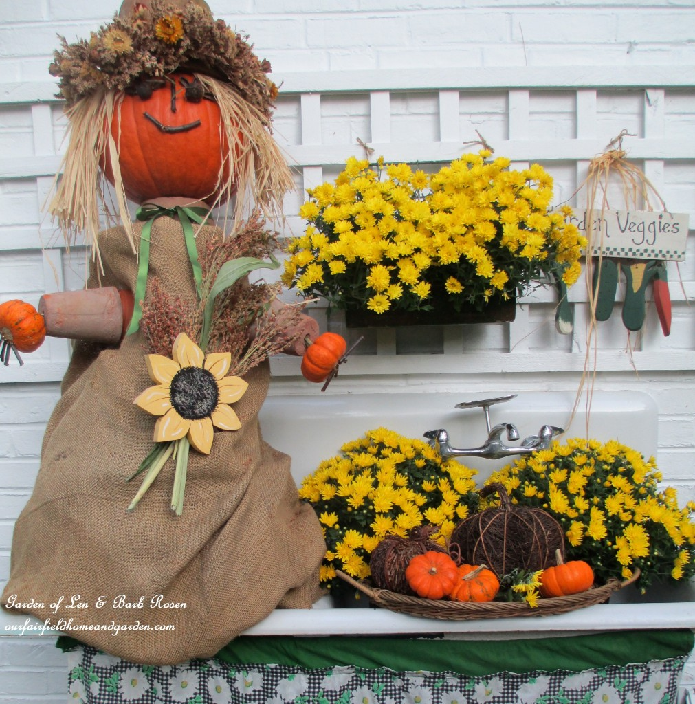 Pumpkin Lady on the potting sink for Fall. https://ourfairfieldhomeandgarden.com/fall-is-in-the-air/