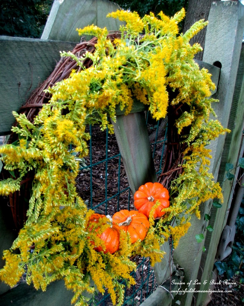 Fall Wreath with Solidago & Gourds http://ourfairfieldhomeandgarden.com/fall-is-in-the-air/