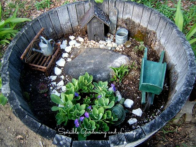 Wooden barrels are excellent for building miniature container gardens. Click to see this one from Sensible Gardening and Living!