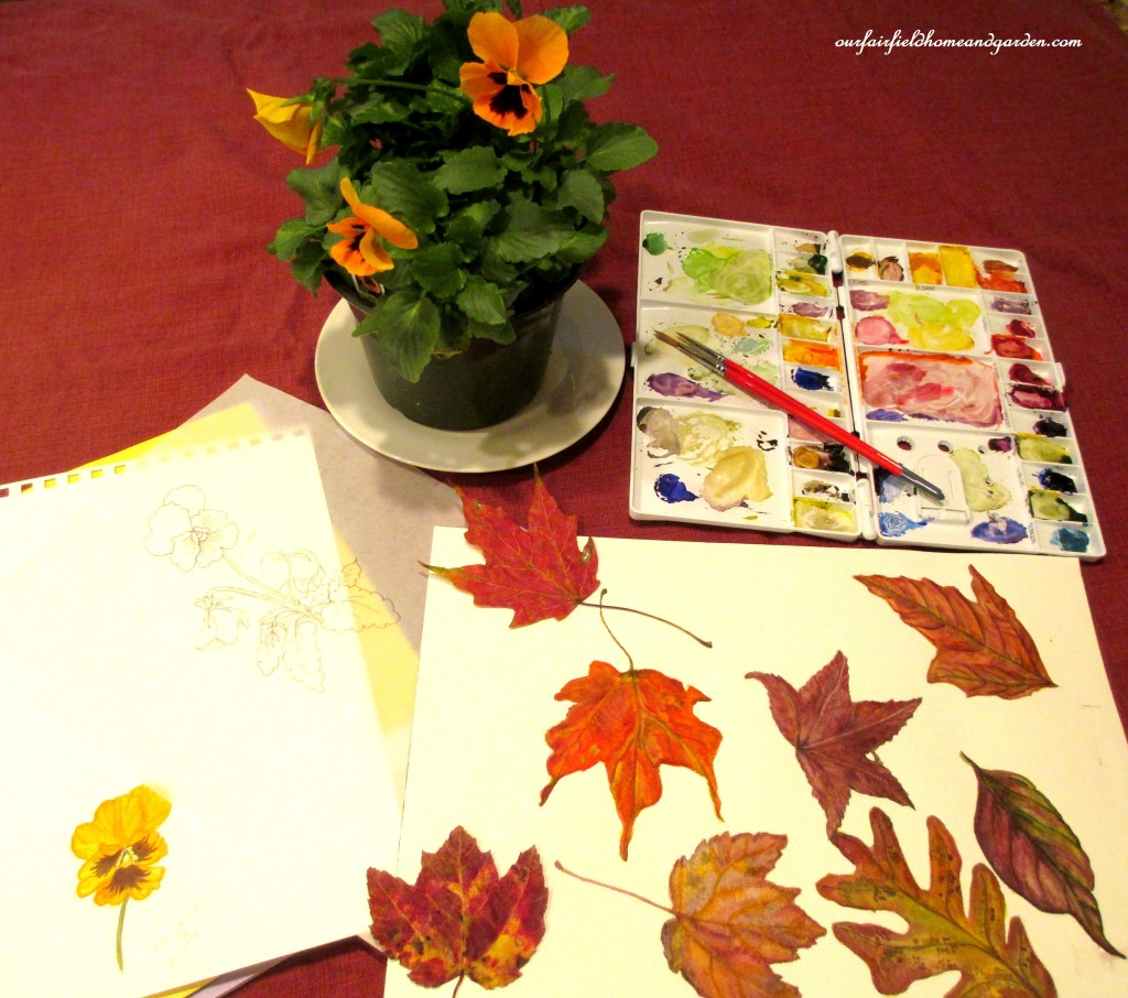 Fall leaves painted in water color https://ourfairfieldhomeandgarden.com/diy-tucking-the-garden-in-for-the-winter-at-our-fairfield-home-garden/